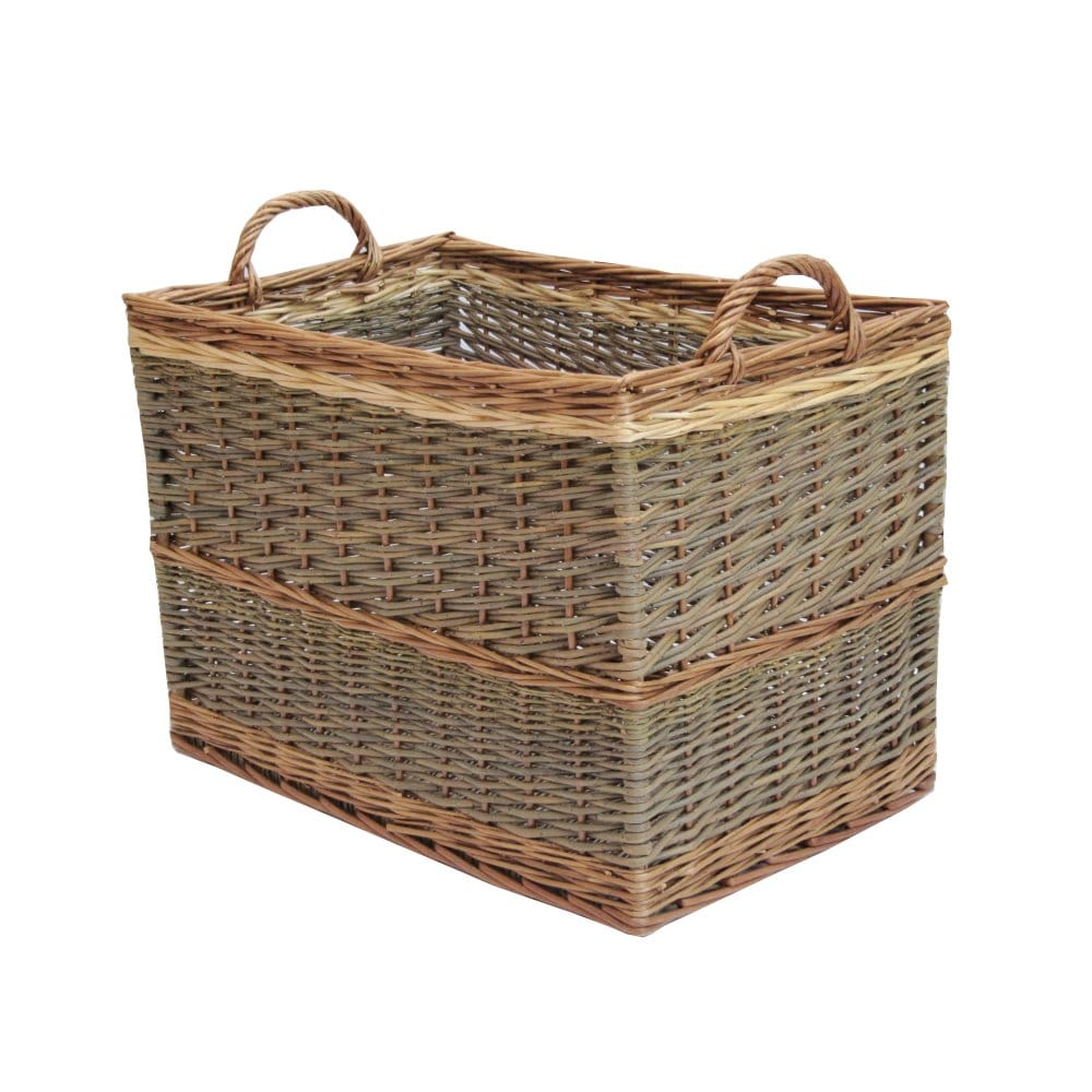 Rectangular Grey Buff Rattan Storage Baskets: Must Have Log Baskets For Your Home