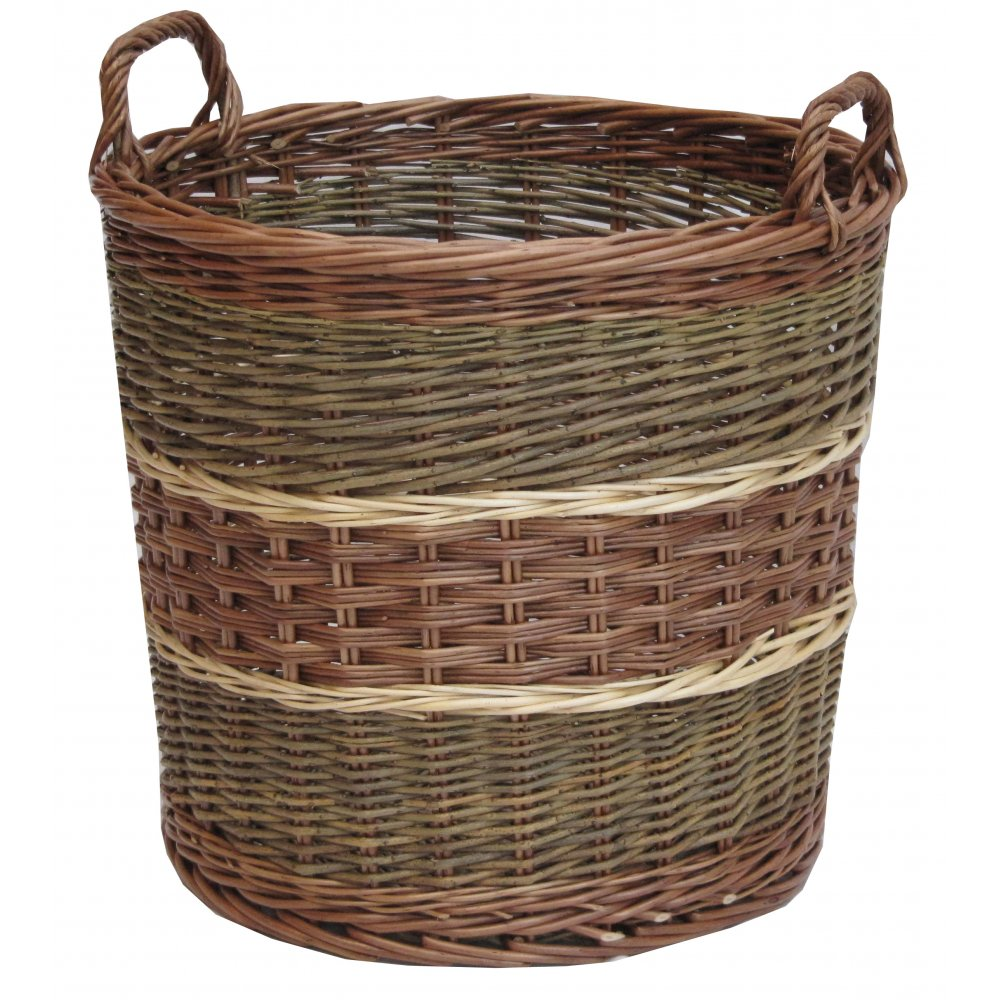 glastonbury round wicker log storage basket willow large fireside handles wood ebay. Black Bedroom Furniture Sets. Home Design Ideas