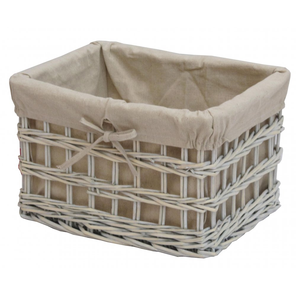 Willow Wicker Storage Basket With Liner For Home: Provence White Wash Wicker Cotton Lined Storage Basket
