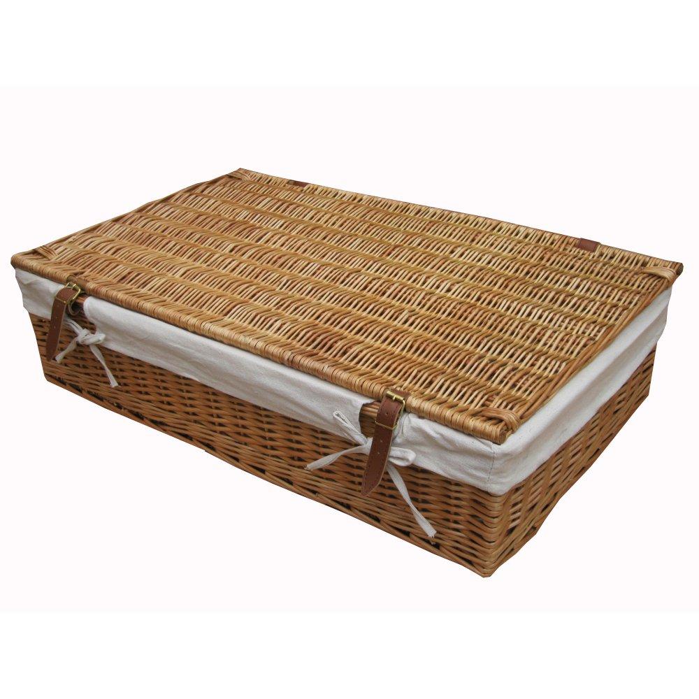 Wicker Under Bed Storage Basket Lined Willow Large Underbed Shoe Lid  Rectangular