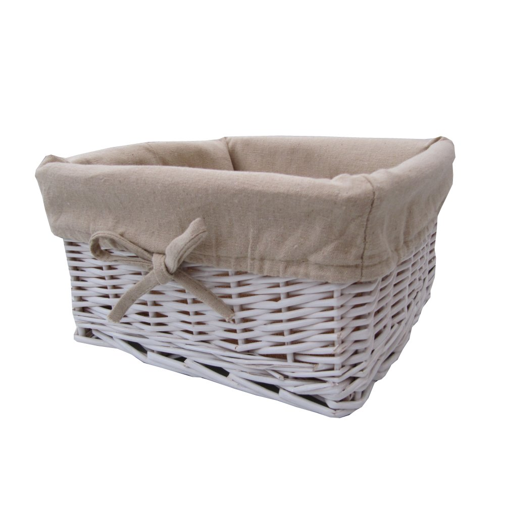 Willow Wicker Storage Basket With Liner For Home: White Wicker Storage Basket Square