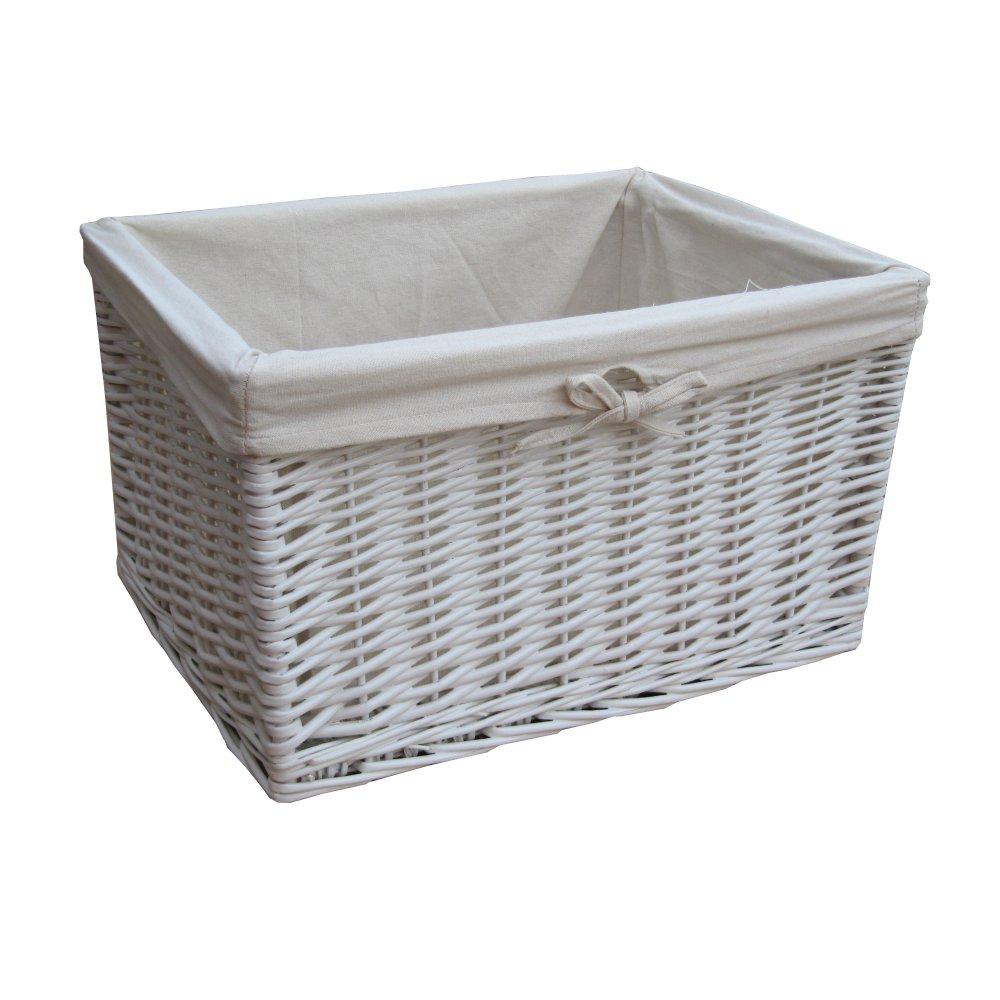 White Wicker Rectangular Deep Storage Basket Lined Willow Bathroom ...
