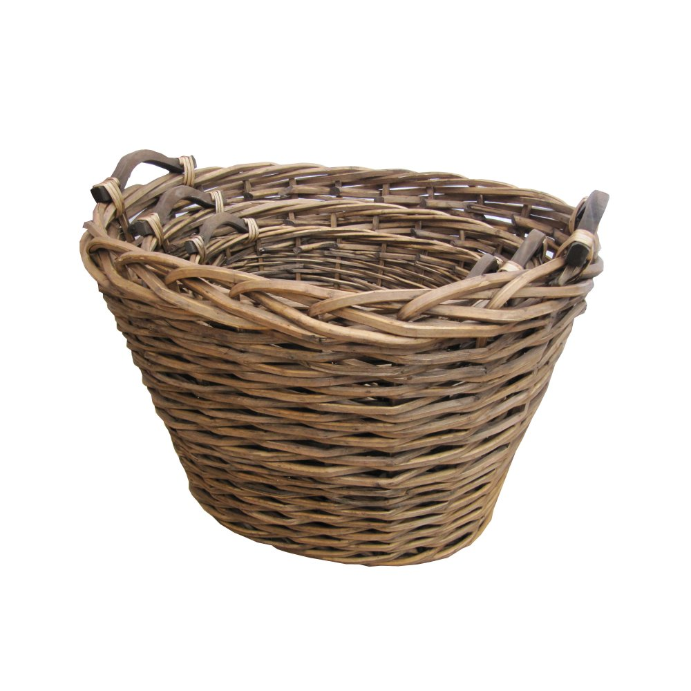 ambleside oval brown wicker log storage basket fireplace handles ebay. Black Bedroom Furniture Sets. Home Design Ideas