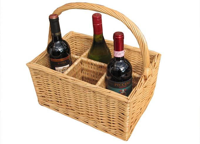 6 Bottle Wicker Wine Carrier Basket