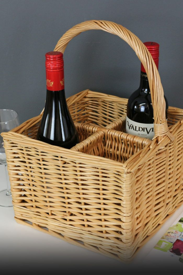4 Bottle Wicker Wine Carrier Basket | The Basket Company