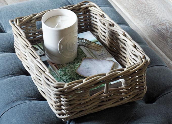Grey & Buff Storage Tray Basket