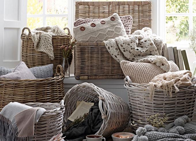 Grey & Buff Storage Baskets