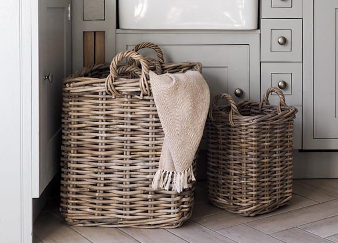 Grey & Buff Rattan Square Wicker Log Baskets