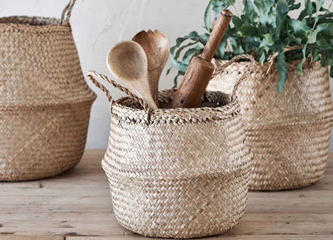 Bali Natural Seagrass Belly Basket