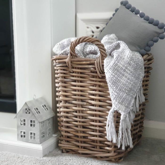 Grey & Buff Rattan Square Log Basket