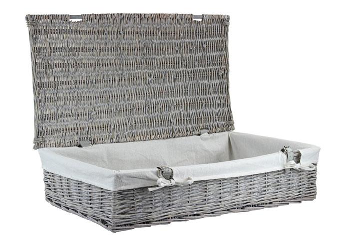 Grey Wash Under Bed Wicker Storage Basket