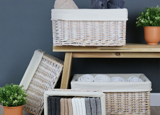 Keswick White Wash Wicker Storage Baskets
