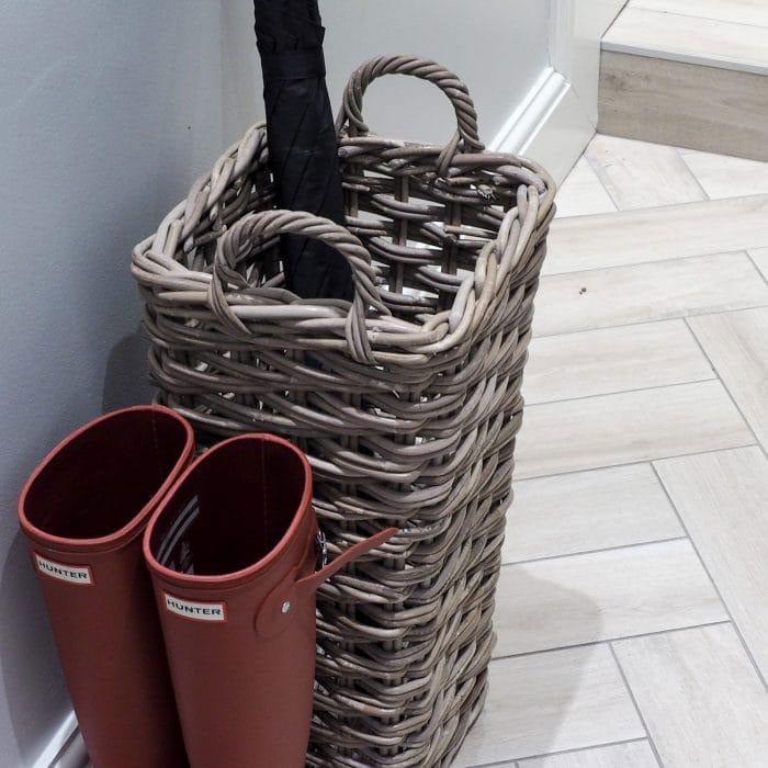 Grey & Buff Rattan Umbrella Basket
