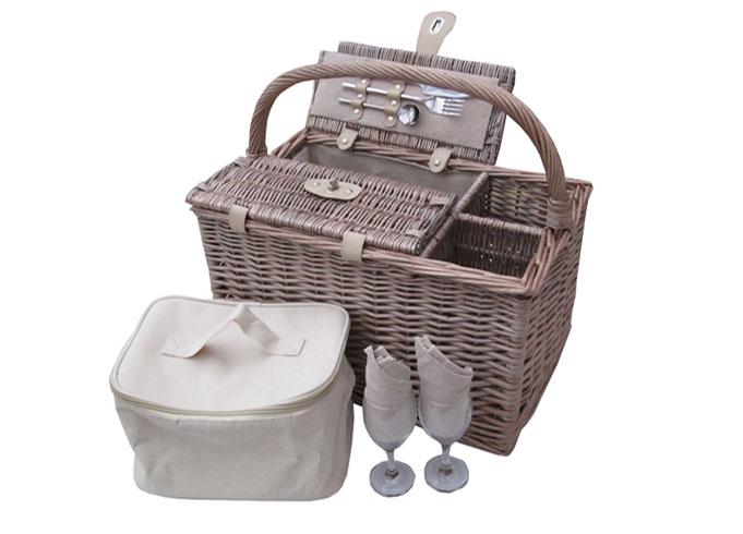 Romantic Antique Wash Wicker Picnic Basket