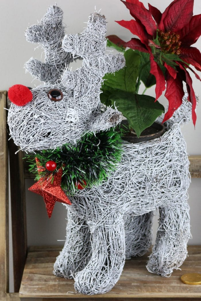 Frosted Reindeer Christmas Planter