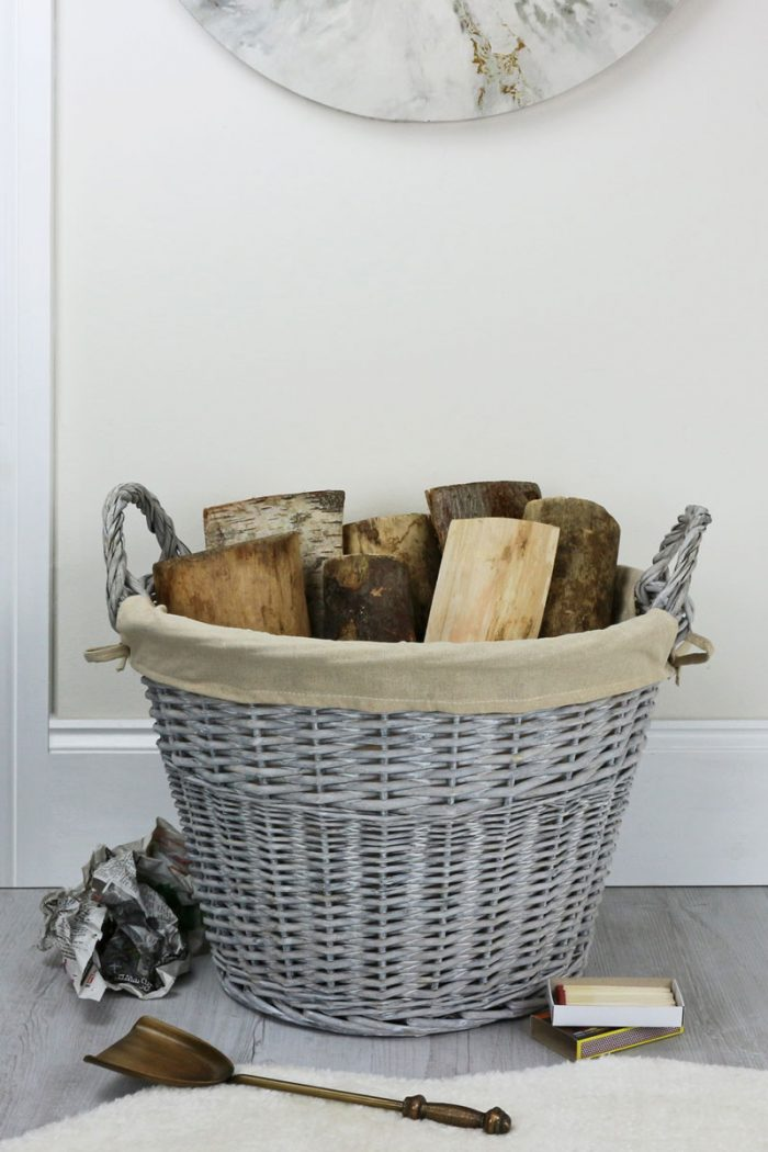 Grey Wash Willow Log Basket
