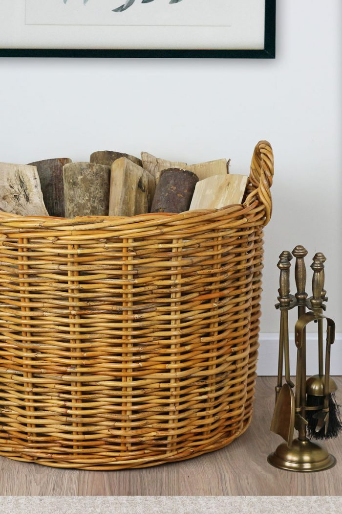 Honey Rattan Round Log Basket