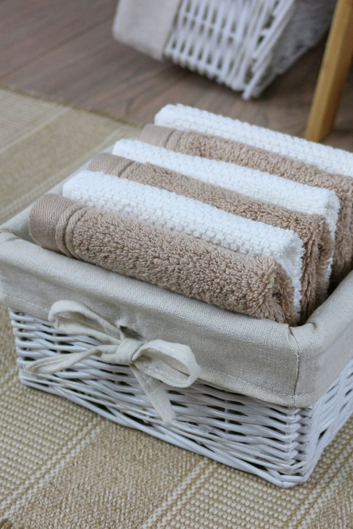 White Shallow Storage Baskets