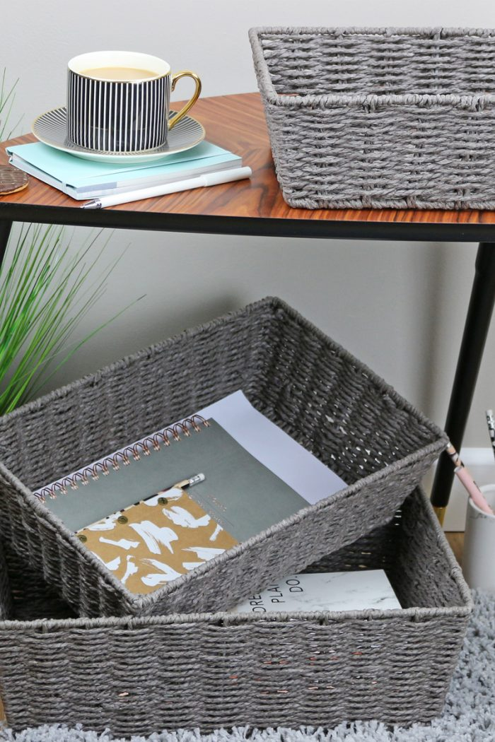 Grey Rope Paper Storage Tray