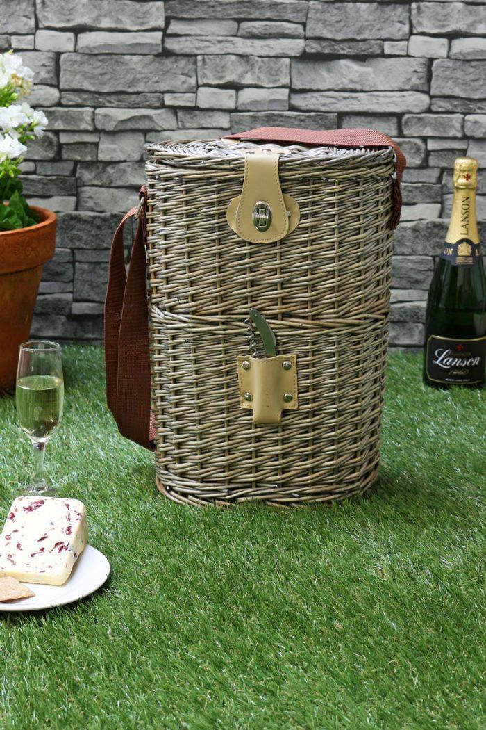 Antique Wash 2 Bottle Chilled Carry Basket