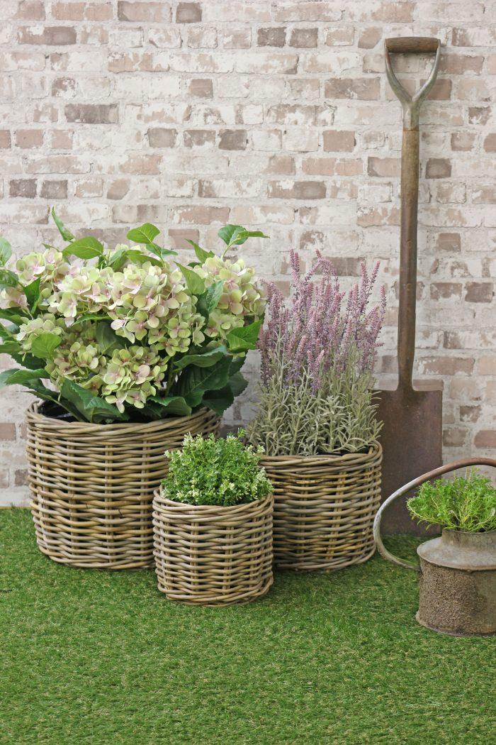 Grey & Buff Rattan Planters | The Basket Company