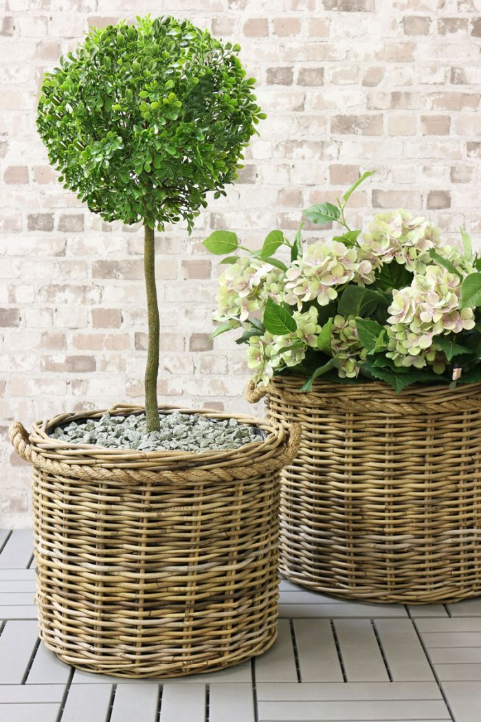 Grey & Buff Rattan Pot Planters