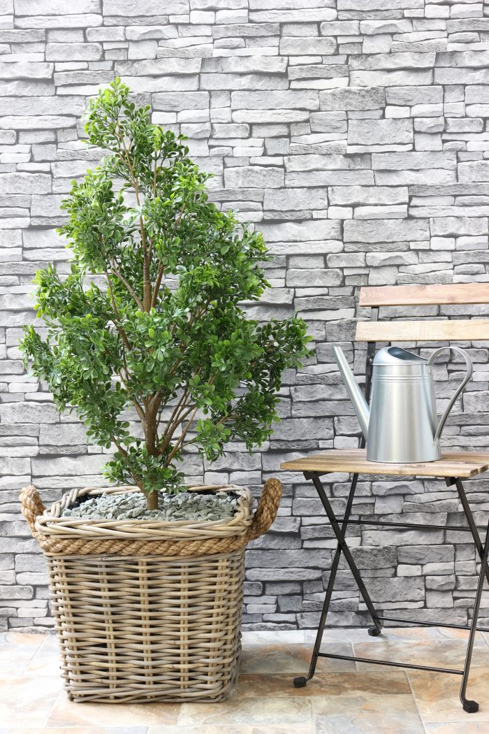 Grey & Buff Rattan Square Planter