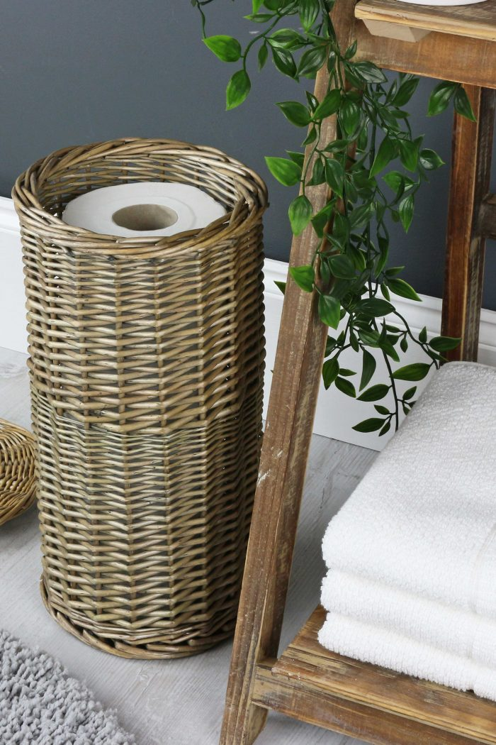 Antique Wash Round Wicker Toilet Roll Holder Basket