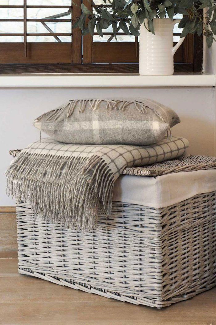 Grey Wash Storage Trunk Basket