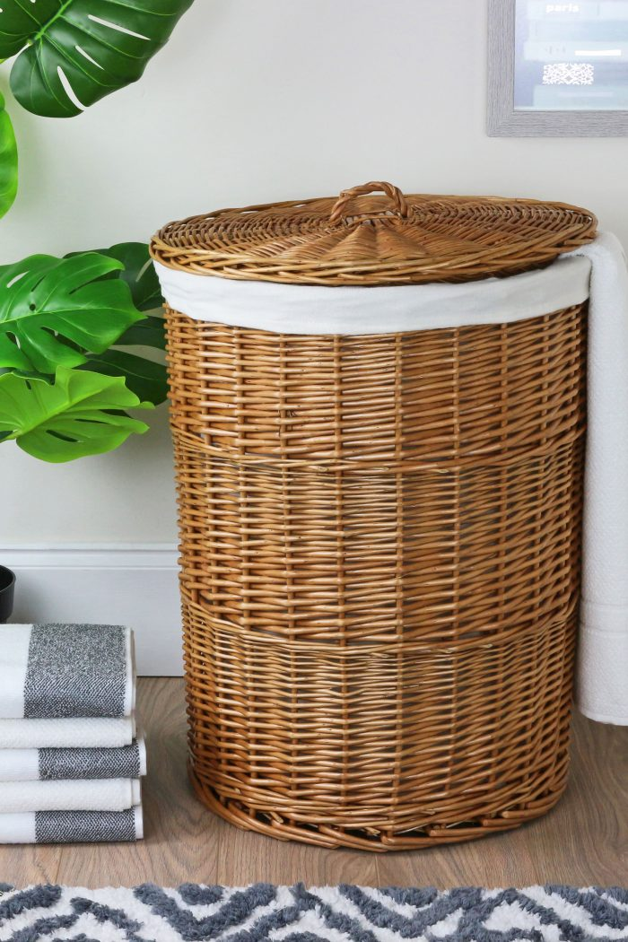 Natural Round Laundry Basket