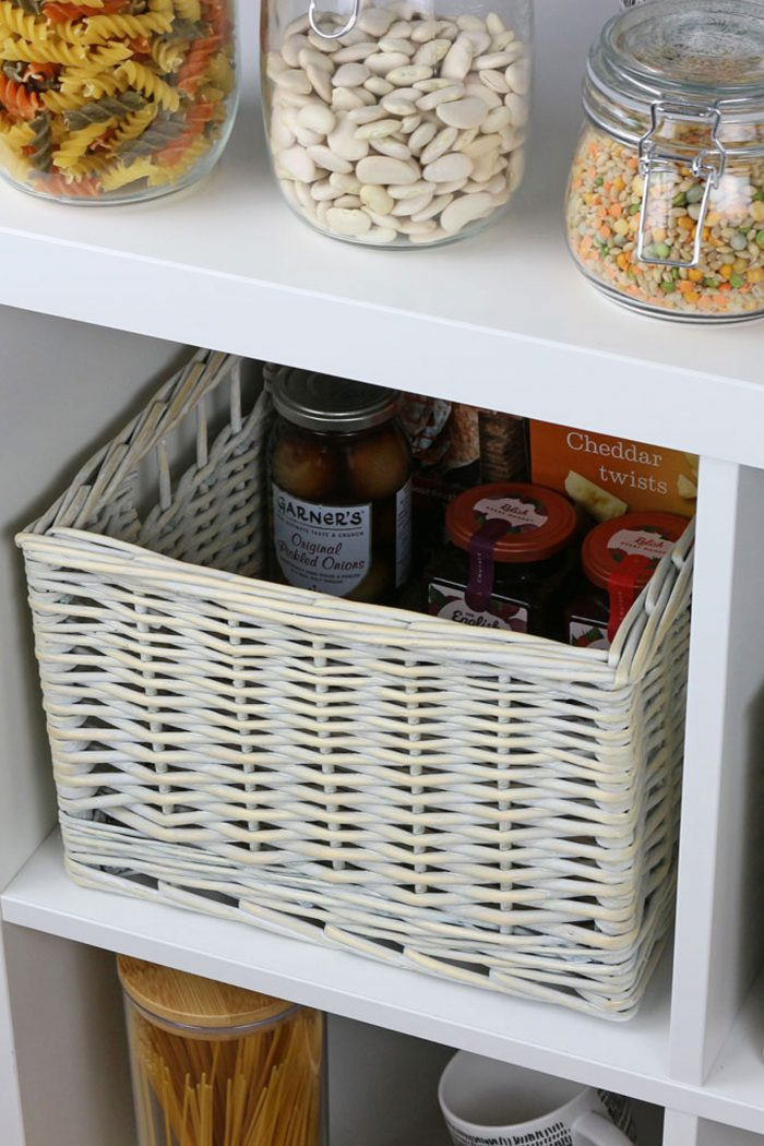 Provence White Wash Wicker Storage Basket