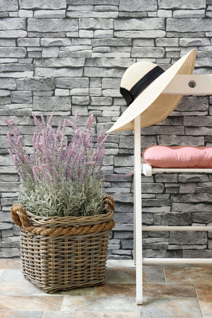 Square Grey & Buff Rattan Wicker Planter | The Basket Company