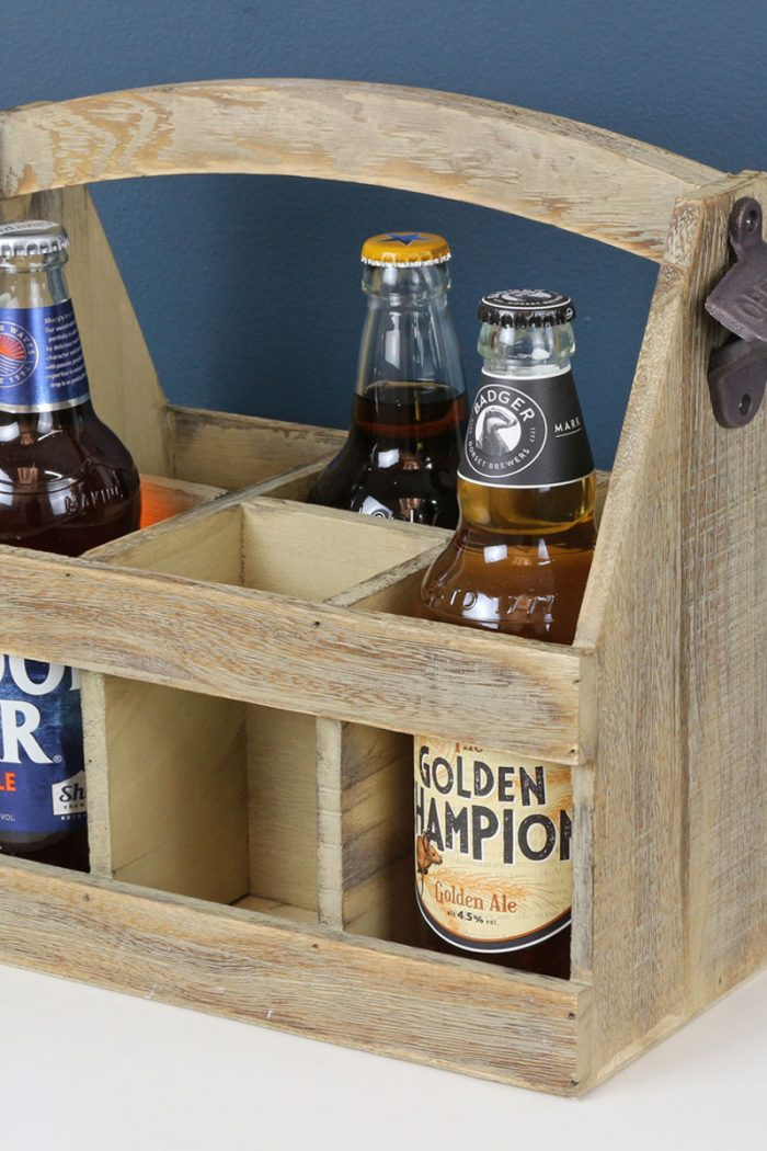 Oak Effect 6 Bottle Beer Carrier   The Basket Company