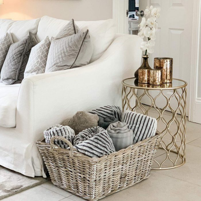 White Wash Rattan Floor Basket