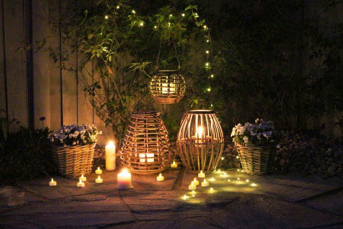 Grey Willow Wicker Gardening Lanterns