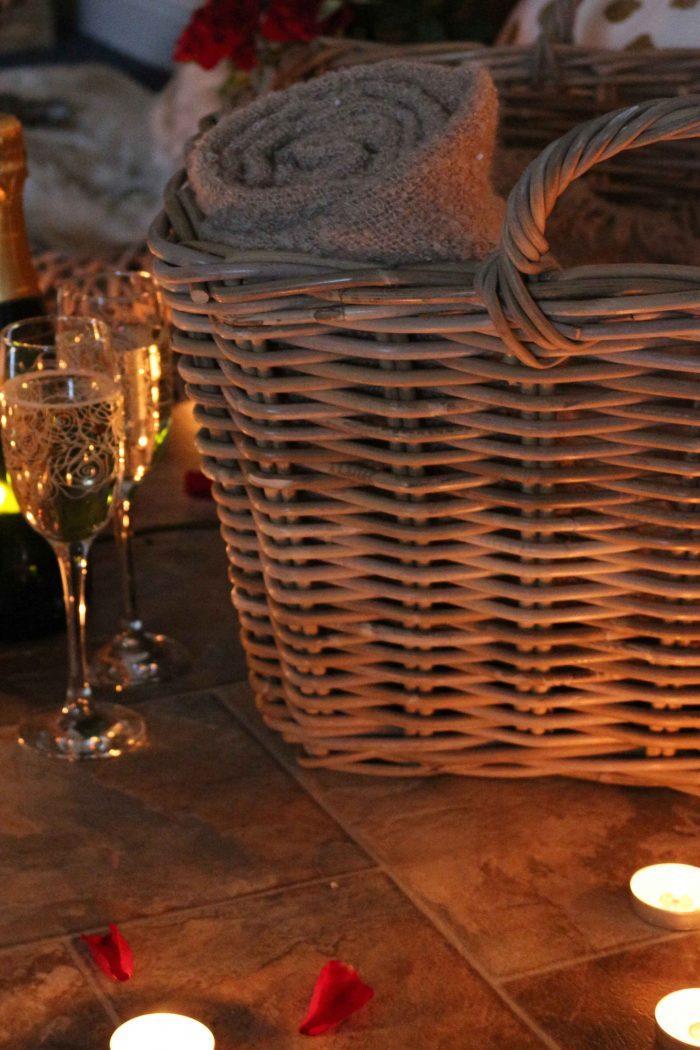 Grey & Buff Rattan Floor Basket