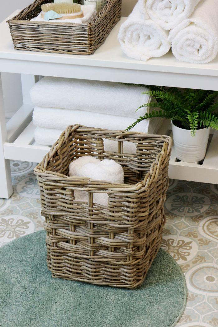 Grey & Buff Rattan Mixed Weave Wicker Storage Basket