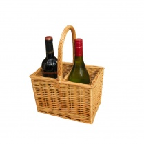 2 Bottle Wicker Wine Carrier Basket