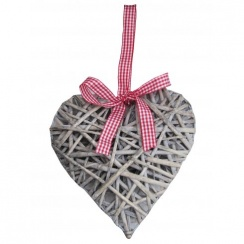 30cm Grey Wicker Hearts With Red Check Ribbon