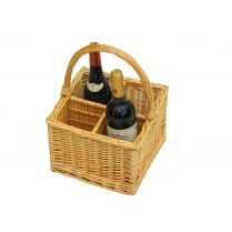 4 Bottle Wicker Wine Carrier Basket