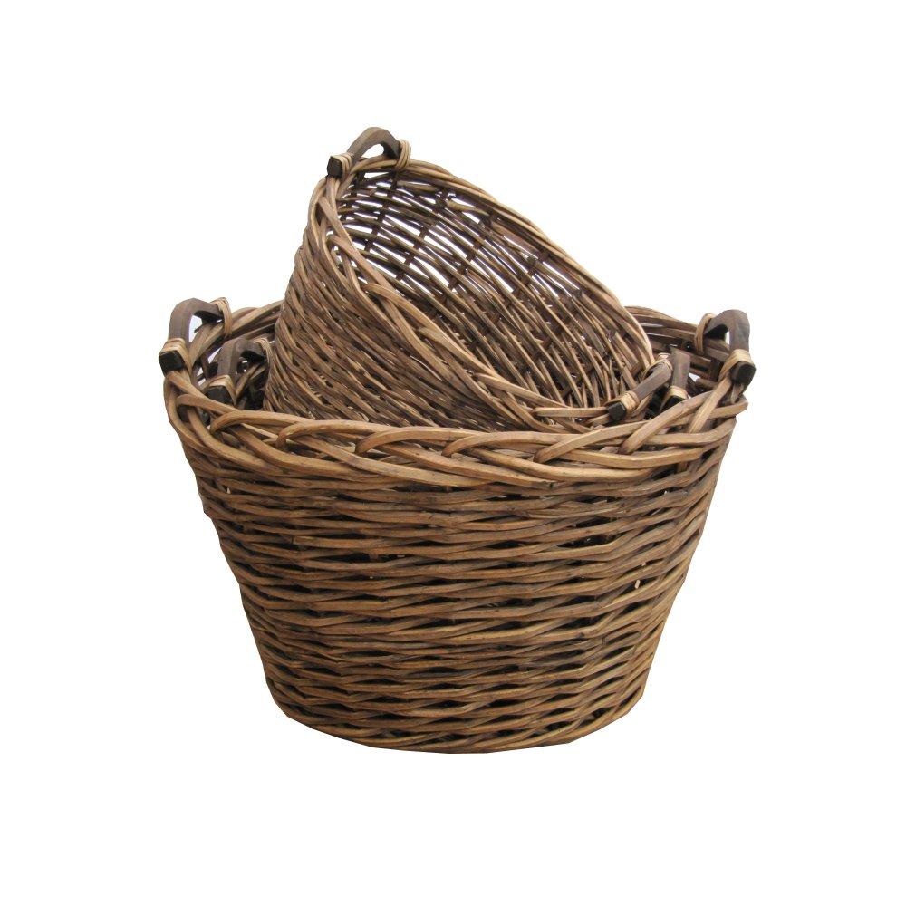 Buy Ambleside Oval Brown Wicker Log | Storage Basket from ...