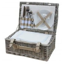 Antique Wash 2 Person Picnic Wicker Hamper Basket