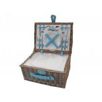 Antique Wash 2 Person Wicker Picnic Basket - Blue Straps