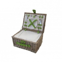 Antique Wash 2 Person Wicker Picnic Basket - Lime Green Straps
