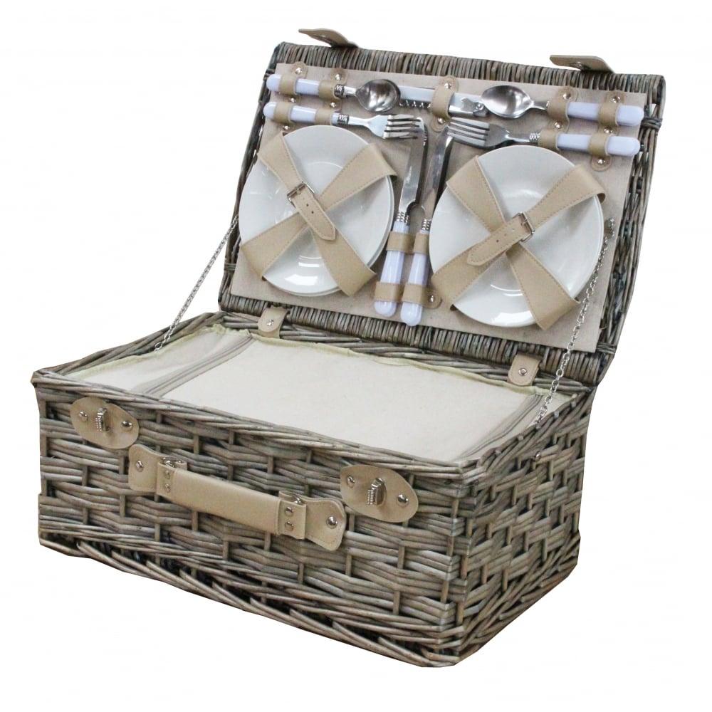Antique Wash 4 Person Picnic Wicker Hamper Basket