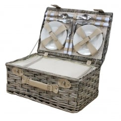 Antique Wash 4 Person Picnic Wicker Hamper Basket