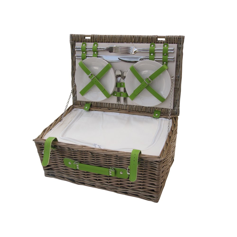 Picnic Baskets For 4 Ireland : Antique wash person wicker picnic basket lime green straps