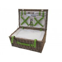 Antique Wash 4 Person Wicker Picnic Basket - Lime Green Straps