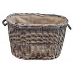 Antique Wash Oval Wicker Log Basket Lined