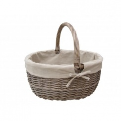 Antique Wash Oval Wicker Shopping Basket - Lined